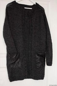 Эмми Каролина: Серый вязаный кардиган с кожаными карманами - и готово!