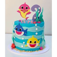 These are the Best Baby Shark Party Ideas from around the sea. From baby shark themed food to DIY decor, we've got it all to make it a fintastic birthday! Shark Birthday Cakes, 2nd Birthday Party For Girl, Baby Birthday Cakes, Birthday Ideas, Baby Cakes, Baby Hai, Shark Party Decorations, Shark Cake, Shark Shark