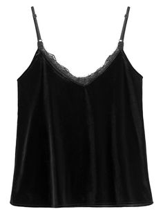 Eyelash Lace Velvet Camisole Top BLACK: Tank Tops   ZAFUL