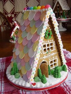 Christmas Gingerbread house - necco wafers as roof! Gingerbread House Parties, Christmas Gingerbread House, Noel Christmas, Christmas Goodies, Christmas Treats, Christmas Baking, All Things Christmas, Christmas Decorations, Gingerbread Houses