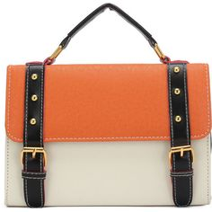 Rectangular Color Block Design Shoulder Bag with Pin Buckle Belt (125 AUD) ❤ liked on Polyvore featuring bags, handbags, shoulder bags, chicnova, top handle purses, color block purse, color block handbag, colorblock handbags and red purse