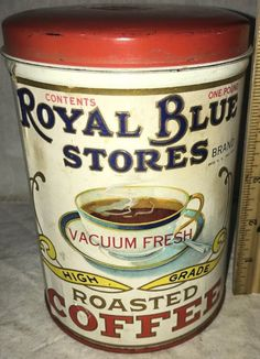 Royal Blue Stores Roasted Coffee Vintage Tins, Vintage Coffee, Cuppa Joe, Coffee Grinders, Coffee Tin, Old Country Stores, Tin Containers, Tea Tins, Coffee Packaging