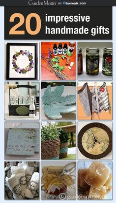 Check out 20 impressive handmade gifts that you can make for the holidays, give as hostess gifts or anytime you want to thank someone special.