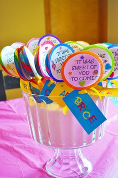 """this is a great party favor for any birthday! What kid doesn't get excited about a giant swirly lollipop, then just attach a little label that says """"It was sweet of you to come!"""" :o)"""
