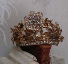 Antique French RARE Tremble Flower Crown Tiara