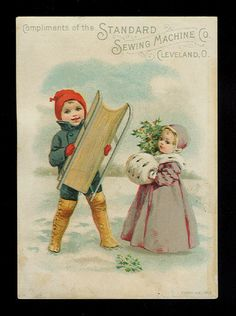 Happy Little Boy With His Sled-Victorian Trade Card-Standard Sewing Machine Co.