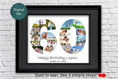 60th birthday photo collage 60th photo collage gift 60th happy birthday 60th birthday ideas 60th birthday favors 60th anniversary gift This listing is for a DIGITAL File only. The black frame is for preview purposes only and will not be included in your digital file.