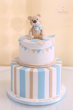Baby boy cakes, baby shower cakes for boys, baby boy shower, baby Torta Baby Shower, Baby Shower Cakes For Boys, Baby Boy Cakes, Teddy Bear Baby Shower, Baby Boy Shower, Toddler Birthday Cakes, Baby Boy Birthday Cake, Baby Christening Cakes, Teddy Bear Cakes