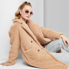 Women's Long Sleeve Button Front Sherpa Pea Coat - Wild Fable™ Tan : Target