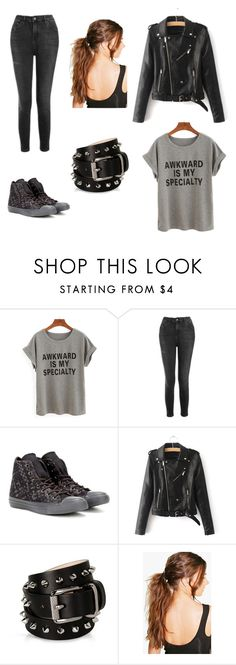 """""""Awkward is my specialty"""" by open-minds ❤ liked on Polyvore featuring WithChic, Topshop, Converse, Barbara Bui and Boohoo"""