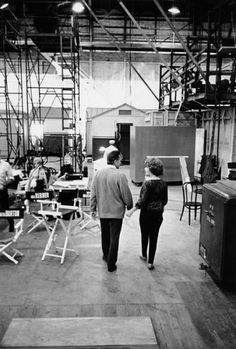 "Elizabeth Taylor and Richard Burton on the set of  ""Whos Afraid of Virginia Wolf?"""