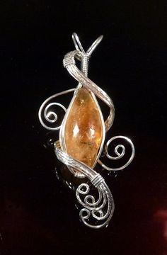 FREE SHIPPING Golden Citrine Pendant Necklace Wire Wrapped Jewelry Handmade in Silver