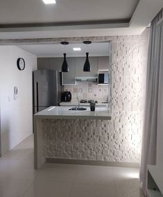 A kitchen island dream for any tiny apartment. Space does not reflect the quality ? Design your house with Kitchen Design Small, Modern Kitchen Interiors, Home Decor Kitchen, Kitchen Room Design, Interior Design Kitchen, Kitchen Remodel Layout, Design Your Home, Kitchen Furniture Design, Modern Kitchen Design