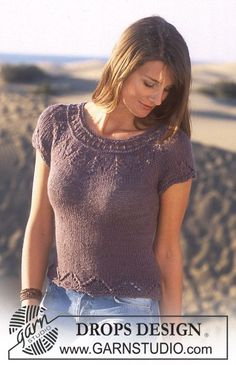 DROPS Short sleeved top in in Safran and Alpaca ~ DROPS Design -- with longer length, maybe triple up on the lower border? Drops Design, Summer Knitting, Free Knitting, Sweater Knitting Patterns, Knit Patterns, Crochet Woman, Knit Crochet, Drops Patterns, Alpacas