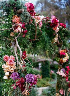 A colorful ceremony structure | Brides.com