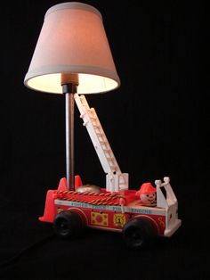 Upcycled Fisher Price Little People Toy Fire Truck Lamp