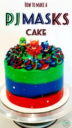 Cake Decorating Frosting, Cake Decorating Videos, Birthday Cake Decorating, Cake Decorating Techniques, Pj Masks Birthday Cake, 3rd Birthday Cakes, Torta Pj Mask, Cupcake Cakes, Pj Mask Cupcakes