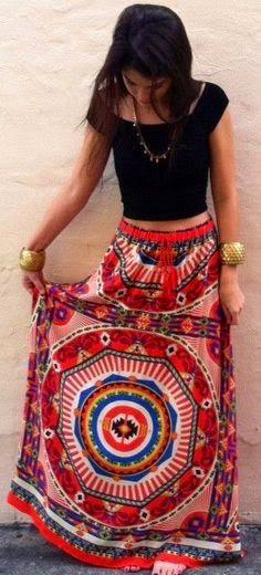 Boca Leche The Pagoda Color Spill Maxi Skirt
