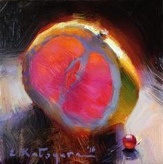 "Daily Paintworks - ""Half a Grapefruit"" - Original Fine Art for Sale - © Elena Katsyura"