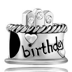 Birthday Cake European Charm Beads w// Pink Candles For European Charm Bracelets