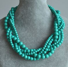 turquoise pearl necklace, turquoise necklace, five strands turquoise necklace,wedding turquoise bead necklace,twist turquoise color necklace