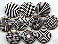OP ART 10 one inch pinback/badges/buttons   by orangedracula, $9.95