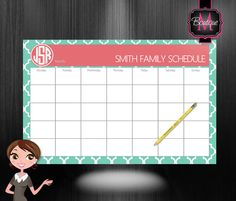 Monogrammed Desk Calendar - Personalized Desk Calendar - Weekly Calendar - Planner - Custom Calendar - Monthly Desk Pad Calendar on Etsy, $33.99