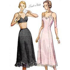 Plus Size 1940's Full or Half Slips Vintage Sewing Pattern Bust 44