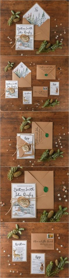 Winter Wedding Invitations with wooden tag ! #winterwedding #weddingideas