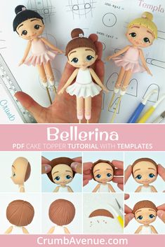 Cute ballerina cake topper pdf tutorial with templates fondant gum paste girl figurine dancer tutu ballet for girls cake decorating crumb avenue template balerina Ballet Cakes, Ballerina Cakes, Fondant Cake Toppers, Fondant Figures, Fondant Cupcakes, Cupcake Toppers, Cake Topper Tutorial, Fondant Tutorial, Fondant People