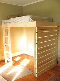 So Simple. Make this even lower and the space under would be a cozy little kids hideout.  Loft bed idea but with side rails