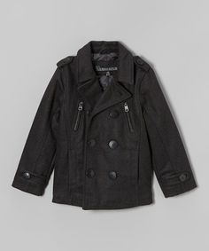 Another great find on #zulily! Charcoal Zipper Peacoat - Infant & Boys #zulilyfinds