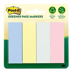 """Post-it® Flags, 1"""" x 3"""", Assorted Pastel Colors, 100% Recycled, 50 Flags Per Pad, Pack Of 4 Pads"""
