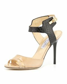 X1ZG3 Jimmy Choo Marcia Snake & Patent Ankle-Wrap Sandal, Nude/Black