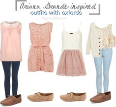 Ariana Grande Inspired outfits with oxfords <3 girly outfits for school