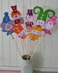 Notekins Party Centerpiece Picks, Notekins Centerpieces,  notekins Party Picks, Notekins Baby Shower, baby First tv Birthday, Notekins party by PaperedAffair on Etsy