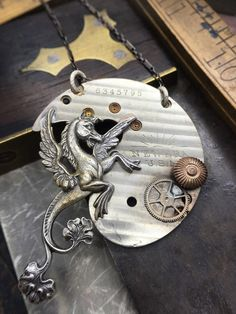 Hippocampus Steampunk pocket watch necklace by VictorianMagpie