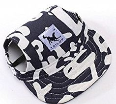 Pawfect Tail Up Dog Sports Hat Pet Blue letter Canvas Hat Sports Baseball Oxford Fabric Cap with Ear Holes for Small Dog: Pug, Chihuahua, Shih Tzu, Yorkshire Terriers, Papillon SIZE M By Stuff & ETC