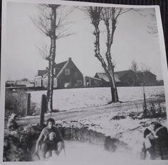 Huisjes Jellema, Joekema, Dijkstra aan de ... Op de achtergrond de oude aardappelloods.