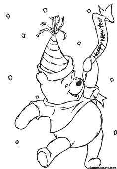 Winnie The Pooh Happy New Year Coloring Page Cartoon Sheets Pages Free Online