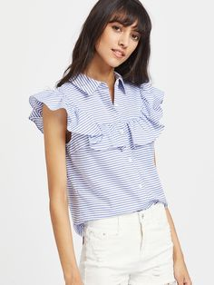Shop Frill Cap Sleeve Button Up Striped Blouse online. SheIn offers Frill Cap Sleeve Button Up Striped Blouse & more to fit your fashionable needs. Blouse Online, Look Chic, Classy Outfits, Corsage, Ladies Dress Design, Blouse Designs, Casual Looks, Shirt Blouses, Blouses For Women