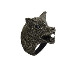 Roseark.com - Huckleberry LTD Wolf Ring Huckleberry, Statement Rings, Wolf, Lion Sculpture, Statue, Art, Art Background, Kunst, Wolves