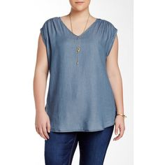 Want & Need Short Sleeve Chambray Blouse (Plus Size) ($30) ❤ liked on Polyvore featuring plus size women's fashion, plus size clothing, plus size tops, plus size blouses, denim blue, plus size, short sleeve blouse, womens plus tops, chambray blouse and v-neck tops