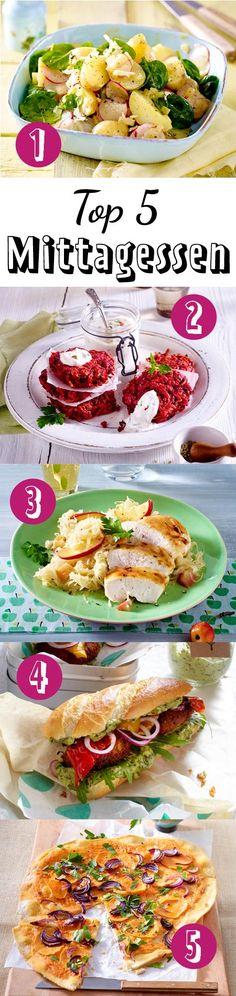 Unsere Top 5 für diese Woche: Kartoffelsalat mit Radieschen, Wurzelbratlinge, Hähnchenfilet, Veggie-Burger und Flammkuchen.
