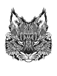 Gratis para colorear colorear difíciles de gato.  Dibujo de hojas que constituyen una cabeza de gato majestuoso ...