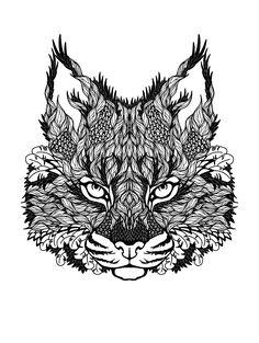 Galerie de coloriages gratuits coloriage-difficile-chat. Une superbe tête de chat à colorier, pleine de détails