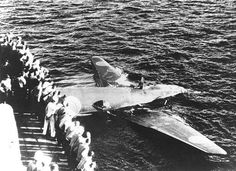 Floating Japanese G4M1 bomber off Tulagi Solomon Islands 8 August 1942 as seen from the destroyer USS Ellet. The bomber was shot down during an aerial torpedo attack on the Allied shipping off Tulagi.