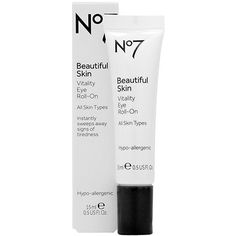 Boots No7 Beautiful Skin Vitality Eye Roll-on - All Skin Types .5 oz by Boots. $16.99. This cooling and hydrating formula works with the gentle massage of the tri-ball applicator to instantly refresh and brighten the delicate skin around your eyes. Day by day it works to reduce the appearance of dark circles and puffiness. Eyeliss, a proven patented peptide, improves fluid drainage while Pearl Extract (Mica) gives a brightening boost. Caffeine stimulates the skin around...