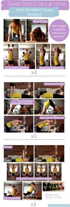 Chest Shoulders Triceps Workout You Can Do From Home! I can actually say I felt this one. I only did 6 of the exercises, 8 reps 4 sets and I definitely felt it the next morning.
