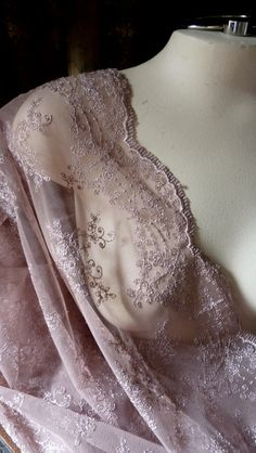Lace in Taupe Antique Rose for Bridal Gowns, Clutches, Headpieces, Home Decor… Lilac Color, Shades Of Purple, Dusty Pink, Dusty Rose, Mauve, Smocks, Pearl And Lace, Linens And Lace, Glamour